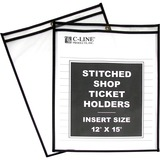 C-Line Products Shop Ticket Holders, Stitched, Both Sides Clear, 12 x 15, 25/BX