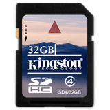 Kingston 32GB Secure Digital High Capacity (SDHC) Card - Class 4