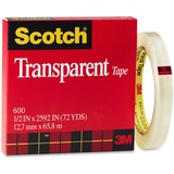 3M Scotch Glossy Transparent Tape 600-1/2X72