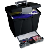 Storex Portable File Box with Supply Drawer