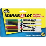 Avery Marks-A-Lot 4-Color Dry Erase Marker - Bullet Marker Point Style - Black Ink, Blue Ink, Red Ink, Green Ink - 4  Set
