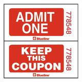Blueline Admit One with Coupon Ticket - 1000 / Roll - Red