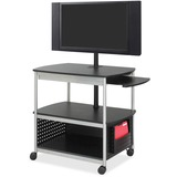 Safco Scoot Open Flat Panel Multimedia Display Cart - Steel - Black