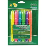 Dixon Desk Style Highlighter - Chisel Marker Point Style - Assorted Ink - 6 / Card