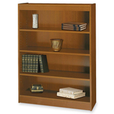 Safco Square Edge Veneer Bookcase - Particleboard - 4 x Shelf(ves) - Security Lock - Medium Oak