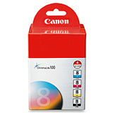 Canon CLI-8 Cartridge Value Pack Black Cyan Magenta & Yellow With 5 Sheets 4X6 Photo Paper
