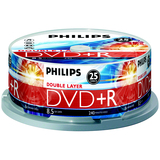 Philips DR8S8B25F DVD Recordable Media - DVD+R DL - 2.4x - 8.50 GB - 25 Pack Spindle DR8S8B25F/17