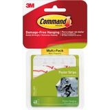3M Command Adhesive Poster Strip - Removable - 48 / Pack - White