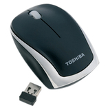 Toshiba Nano Wireless 2.4Ghz Mouse - Laser - USB - 3 x Button - Black, Chrome