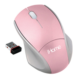 LifeWorks iHome IH-M173ZP Wireless Laser Notebook Mouse - Laser - USB - Pink