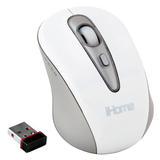 LifeWorks iHome IH-M179ZW Mid-Size Wireless Laser Mouse - Laser - USB - White