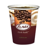 Flavia Logo Hot Drink Cup - 10oz - 1000 / Case - Paperboard - Brown, White