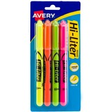 Avery Hi-Liter Fluorescent Pen Style Highlighters - Chisel Marker Point Style - Fluorescent Yellow Ink, Pink Ink, Orange Ink, Green Ink - 4 / Set