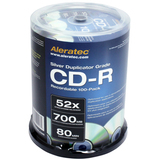 Aleratec CD Recordable Media - CD-R - 52x - 700 MB - 100 Pack Cake Box