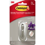 3M Command Brushed Nickel Traditional Medium Hook