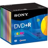 Sony 20DPR47RX4 DVD Recordable Media - DVD+R - 16x - 4.70 GB - 20 Pack Slim Jewel Case 20DPR47RX4