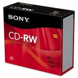 Sony 10CDRW700R CD Rewritable Media - CD-RW - 4x - 700 MB - 10 Pack Slim Jewel Case