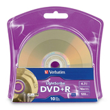 Verbatim LightScribe 96943 DVD Recordable Media - DVD+R - 16x - 4.70 GB - 10 Pack Blister Pack