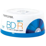 Memorex 98682 Blu-ray Recordable Media - BD-R - 6x - 25 GB - 30 Pack Spindle