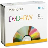 Memorex DVD Rewritable Media - DVD+RW - 4x - 4.70 GB - 10 Pack Slim Jewel Case 05509