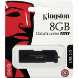 Kingston DataTraveler 100 G2 DT100G2/8GBZ 8 GB USB 2.0 Flash Drive - Black DT100G2/8GBZ