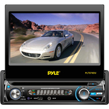 "Pyle PLTS76DU Car DVD Player - 7"" Touchscreen LCD - 320 W RMS - Single DIN - DVD Video, Video CD, MPEG-4 - AM, FM - Secure Digital (SD), MultiMediaCard (MMC) - Auxiliary Input1440 x 234 - In-dash"