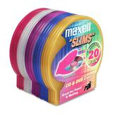Maxell CD-355 Jewel Cases - Book Fold - Plastic - Blue, Red, Gold, Teal, Brown - 1 CD/DVD