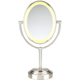 Conair Oval Satin Nickel Double Sided Illuminated Mirror - BE47SNT