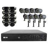 Clover 16CH DVR Bundle Security System with 16 Hi-Res Mixed Color Came - PAC16710