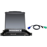 "Aten 8-Port 19"" Single Rail USB/PS2 LCD KVM w/ Peripheral Sharing & 8 USB KVM Cables"