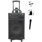 PylePro 800 Watt Dual Channel Wireless Rechageable Portable PA System - PWMA1090UI