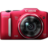 Canon PowerShot SX160 IS 16 Megapixel Compact Camera - Red - 6801B001