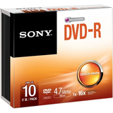 Sony DVD Recordable Media - DVD-R - 16x - 4.70 GB - 10 Pack Slim Case 10DMR47SS