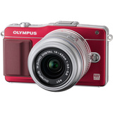 Olympus PEN E-PM2 16.1 Megapixel Mirrorless Camera (Body with Lens Kit) - 14 mm - 42 mm - Red V206021RU000
