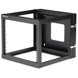 StarTech.com 8U 22in Depth Hinged Open Frame Wall Mount Server Rack - RK819WALLOH