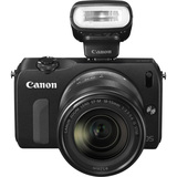Canon EOS M 18 Megapixel Mirrorless Camera (Body with Lens Kit) - 18 mm - 55 mm - Black 6609B014
