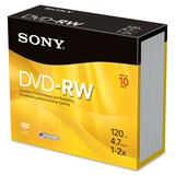 Sony DVD Rewritable Media - DVD-RW - 2x - 4.70 GB - 10 Pack 10DMW47SS