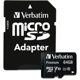 Verbatim 64GB Pro MicroSDXC Memory Card with Adapter, UHS-1 Class 10