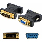 AddOn DVI-I (29 pin) Male to VGA Female Black Adapter