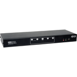 Tripp Lite 4-Port Dual Monitor DVI KVM Switch with Audio and USB 2.0 Hub, Cables included B004-2DUA4-K