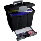 Storex Portable File Boxes w/Supply Drawer