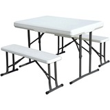 Stansport Folding Table With Bench Seats - White - 44
