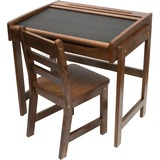 Lipper Child's Chalkboard Desk & Chair, 2-Piece Set, Walnut Finish