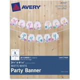 """AVE80507 - Avery Matte White Party Banner 80507, 3-4/5"""" x..."""