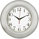 """Artistic Round Frame Wall Clock, 11"""", Silver"""