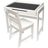 Lipper Child's Desk with Chalkboard Top and Chair Set, White Finish