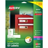 "Avery Easy Align Self-Laminating ID Labels, 00753, 3-1/2"" x 1-1/32"", Pack of 50"