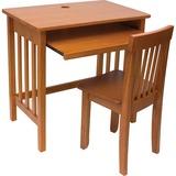 Lipper Child's Computer Desk and Mystic Chair, Pecan Finish