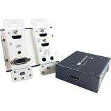 Comprehensive HDBaseT Wall Plate Extender TX/RX Kit (up to 230ft) with HDMI, VGA and Audio