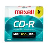 Maxell CD Recordable Media - CD-R - 48x - 700 MB - 5 Pack Slim Jewel Case 648205